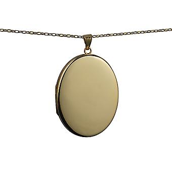 9ct Gold 45x36mm plain flat oval Locket with a belcher Chain 16 inches Only Suitable for Children