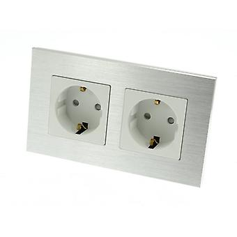 I LumoS Luxury Silver Brushed Aluminium Frame 16A Schuko Double Socket UK & EU Standard