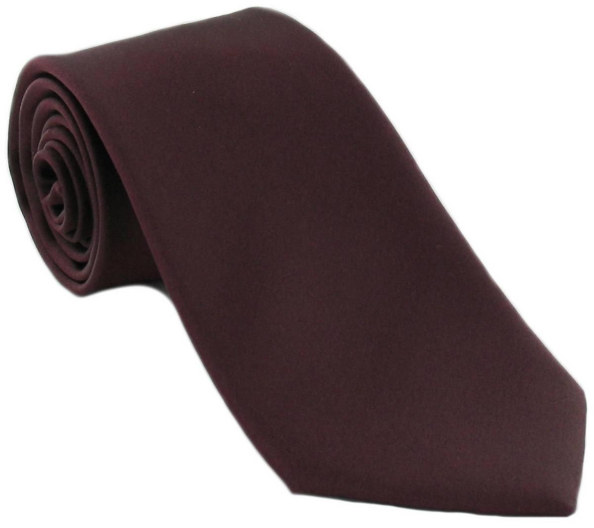 Michelsons of London Plain Silk Tie - Wine