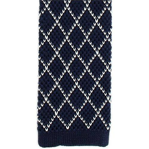 Michelsons of London Diamond Silk Knitted Skinny Tie - Navy/White