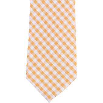 Knightsbridge Neckwear Gingham Checked Cotton Skinny Tie - Yellow/White