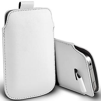 LG Joy Slip In Pull Tab Faux Leather Pouch Case Cover (White)