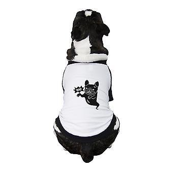بو الفرنسية لدغ البيسبول قميص مضحك هالوين الكلب تي شيرت فكرة