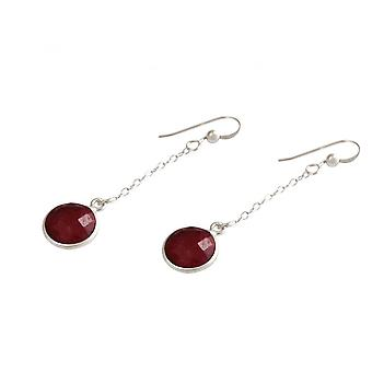 Ladies - earrings - earrings - 925 Silver - Ruby - Red - 3.5 cm