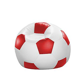 Bean bag cushion football red and white leatherette 80 x 80 x 80 cm