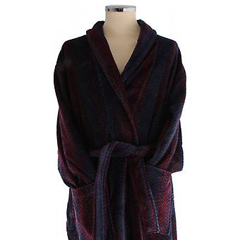 Bown of London Arbroath Egyptian Cotton Velour Dressing Gown - Navy/Black/Red