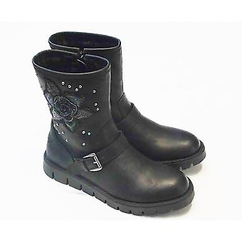 Lelli Kelly Lelli Kelly Matilde Girls Black Leather Boots With Grey Rose Design