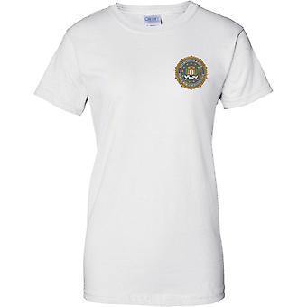 FBI Federal Bureau Of Investigation Grunge Insignia - Ladies Chest Design T-Shirt