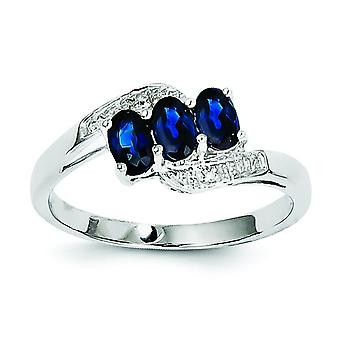 Sterling Silver Polished Open back Rhodium-plated Rhodium Sapphire and Diamond Ring - Ring Size: 6 to 8