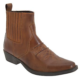 Gringos Mens Distressed Leather Gusset Western Ankle Boots