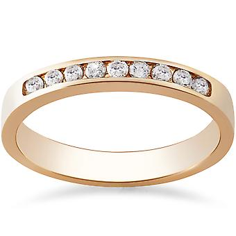 Rose goud 1 / 4ct ronde trouwring Diamond 14K