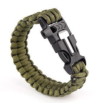 Survival Bracelets Flint Fire Starter Paracord Whistle Gear Buckle Camping