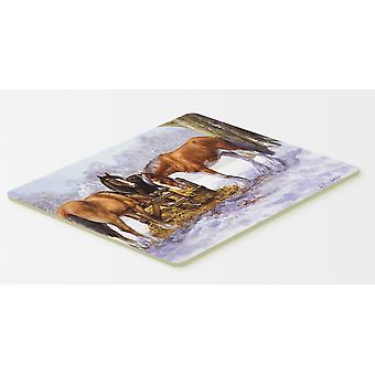 Horses eating Hay in the Snow Kitchen or Bath Mat 20x30
