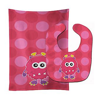 Carolines Treasures  BB8845STBU Monster Pink Bly Baby Bib & Burp Cloth