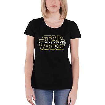 Star Wars T Shirt The Force Awakens Logo Official Womens New Black Skinny Fit