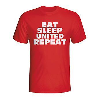 Spise sove Man Utd gjenta t-skjorte (rød) - barn