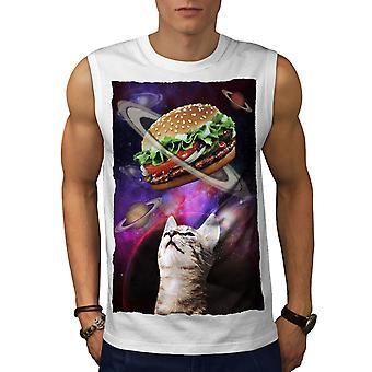 Space Burger Cat Fun Men WhiteSleeveless T-shirt | Wellcoda