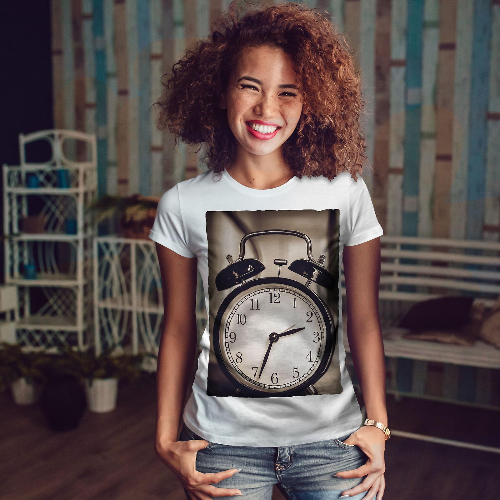 Clock Retro Cool Women WhiteT-shirt | Wellcoda