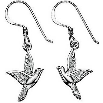 Beginnings Oxidised Bird Drop Earrings - Silver