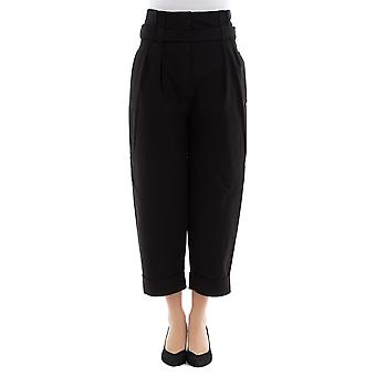 Alberta Ferretti women's 03011624555 black cotton pants