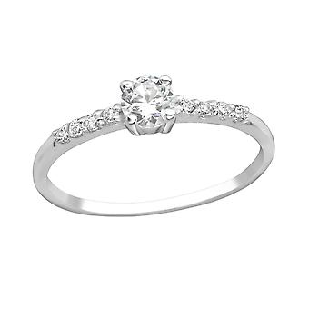 Round - 925 Sterling Silver Cubic Zirconia Rings - W18771x