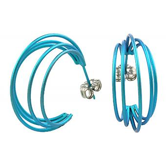 Ti2 Titanium Large Wire Hoop Earrings - Kingfisher Blue