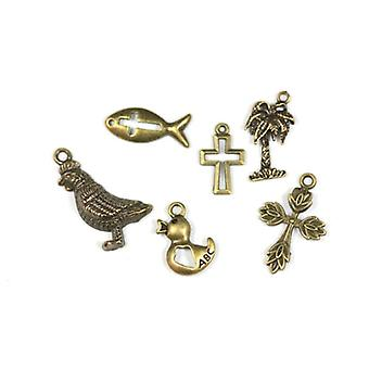 Packet 6 x Steampunk Bronze Tibetan 17-28mm Easter Charm/Pendant Set ZX17415