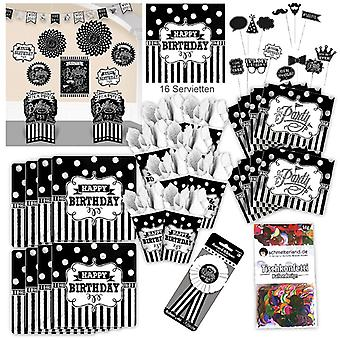 Birthday party set XL Black White 73-teilig for 8 guests s-w design decoration party package
