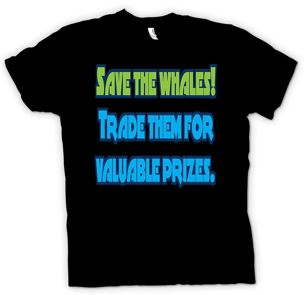 Mens T-shirt - Save the wales .. Trade them for valuable prizes
