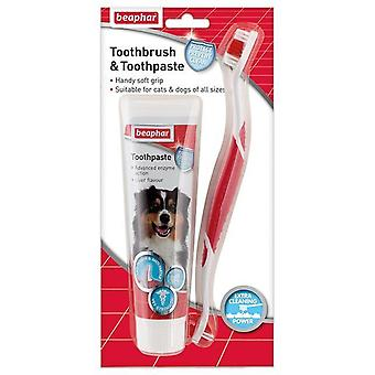 Beaphar Dog Toothbrush & Toothpaste, Dental Kit Dog and Cat 100g