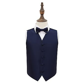 Navy Blue Solid Check Wedding Waistcoat & Bow Tie Set for Boys