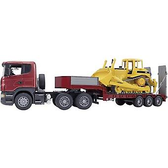 Brother Scania R-series truck with low-loader and CAT Bulldozer 3555