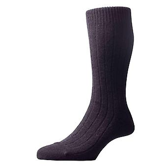 Pantherella Waddington Rib Luxury Cashmere Socks - Black