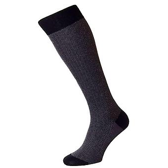 Pantherella Fabian Herringbone Over the Calf Socks - Black