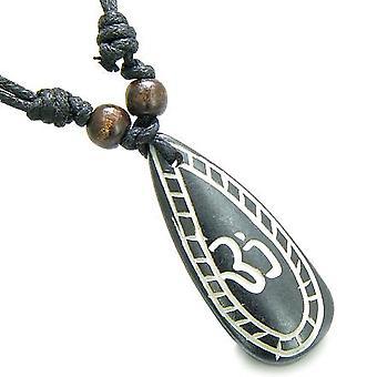Amulett ursprünglichen tibetischen OM Tear Drop Tag Gebet natürlichen Knochen Zauberkräften Anhänger Halskette