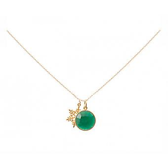 Necklace - pendants - snowflake - silver plated - emerald - green - 45 cm