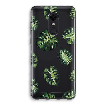 Xiaomi Redmi 5 Transparent Case (Soft) - Tropical leaves