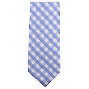 Knightsbridge Neckwear Checked Tie - Light Blue/White