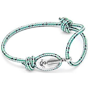 Anchor and Crew London Silver and Rope Bracelet - Green Dash