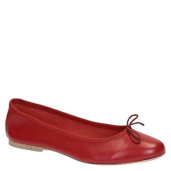 Red soft leather flats ballerinas shoes made in Italy