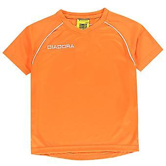 Diadora Kids Boys Madrid T Shirt Junior Baselayer Top Tee Short Sleeve V Neck