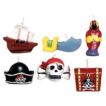 6 Pirate Moulded Birthday Cake Candles | Party Candles
