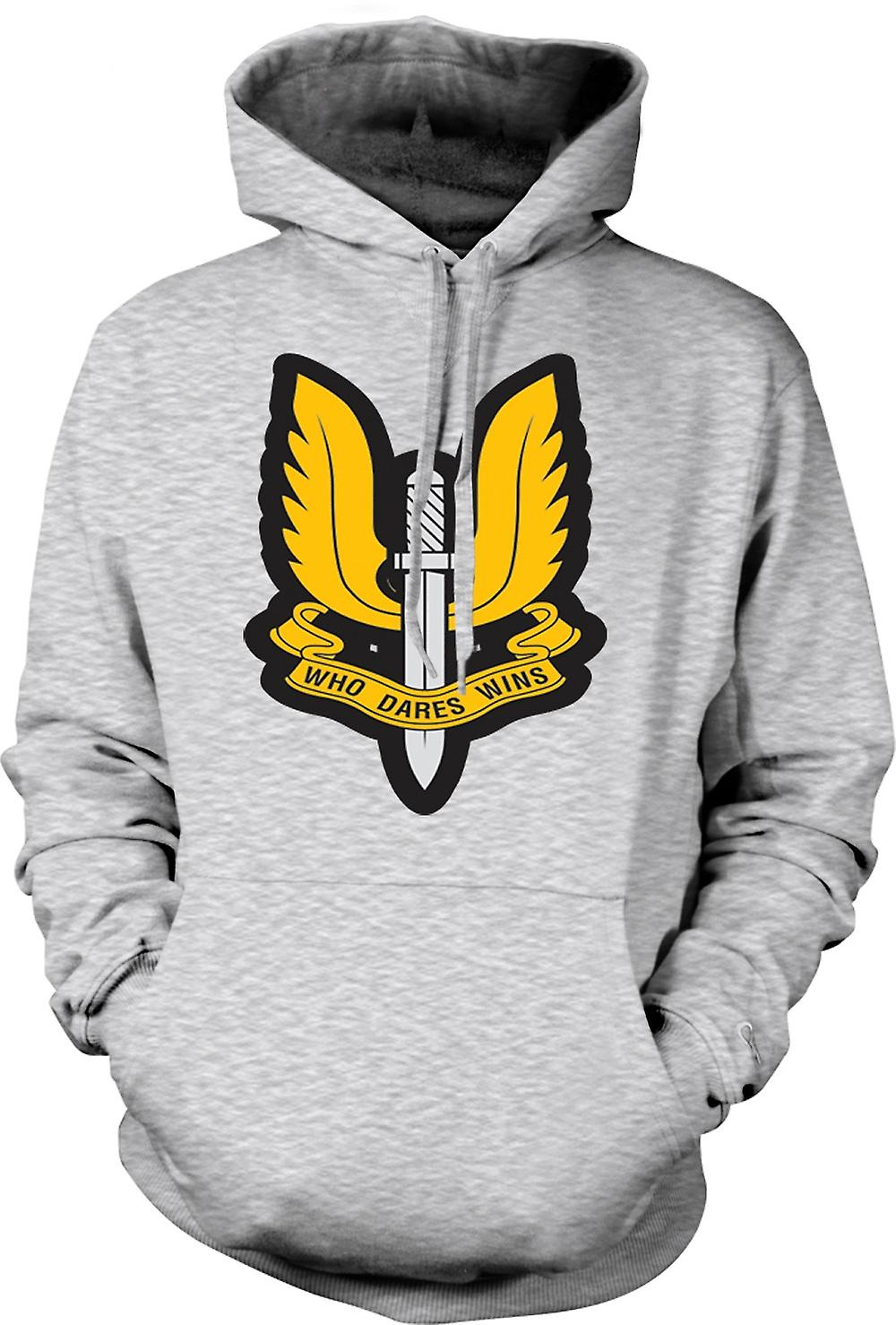Mens Hoodie - Sas Who Dares Wins Badge - War