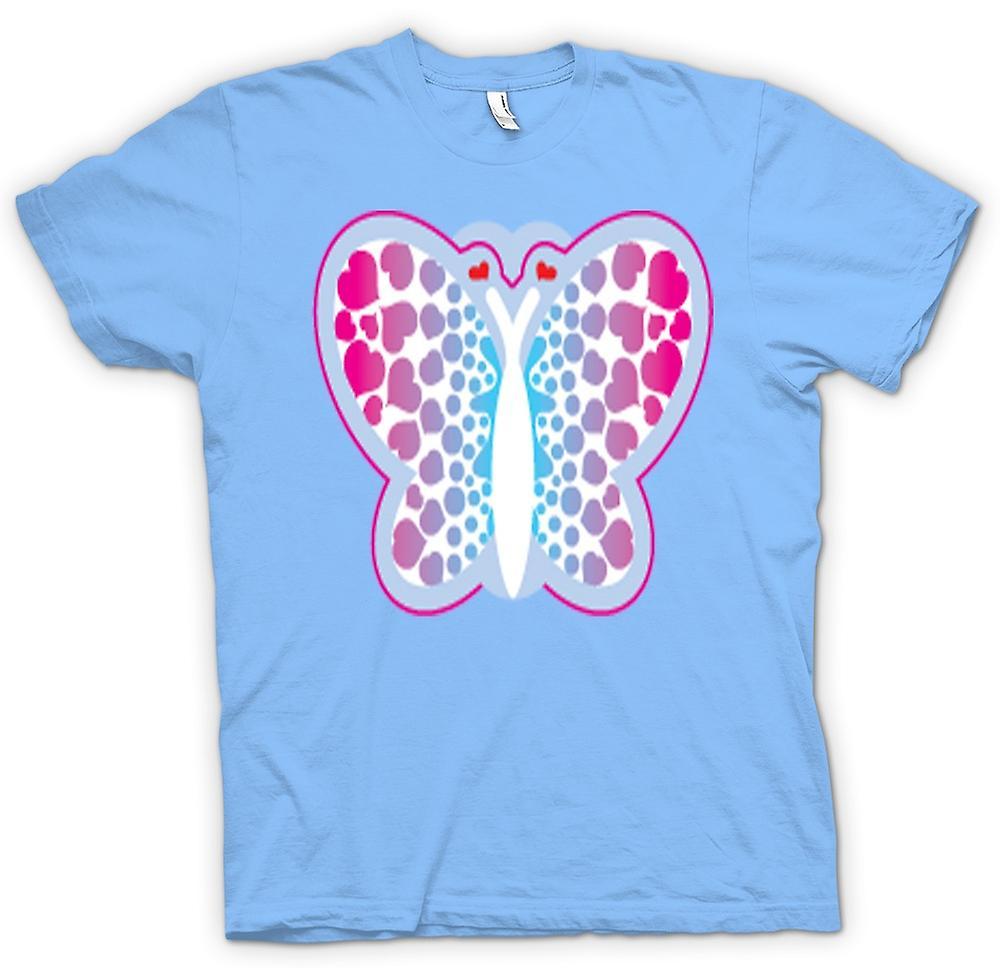 Mens t-skjorte-Butterfly med hjerter