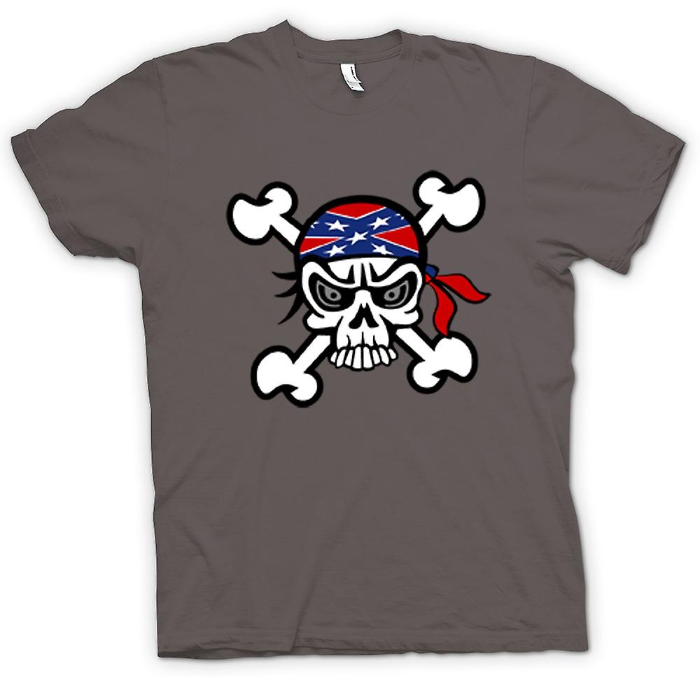 Womens T-shirt-skalle med Bandana & Cross Bones