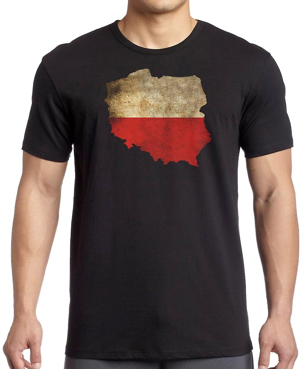Poland Polish Flag Map T Shirt  - 5xl