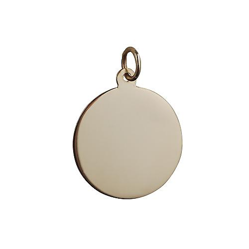9ct Gold 19mm plain round disc
