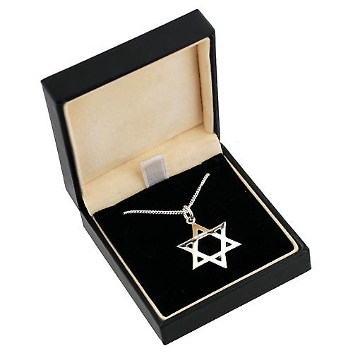 Silver 23mm plain Star of David Pendant with a curb Chain 18 inches