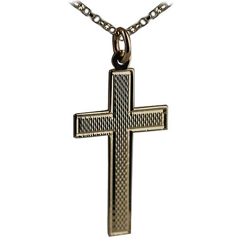 9ct Gold 34x19mm engine turned flat Latin Cross with Belcher chain