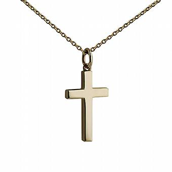 9ct Gold 20x13mm plain solid block Cross with belcher Chain 16 inches Only Suitable for Children